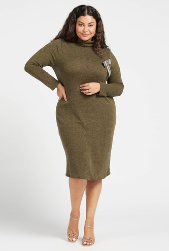 Textured A-line Dress with Turtle Neck and Long Sleeves