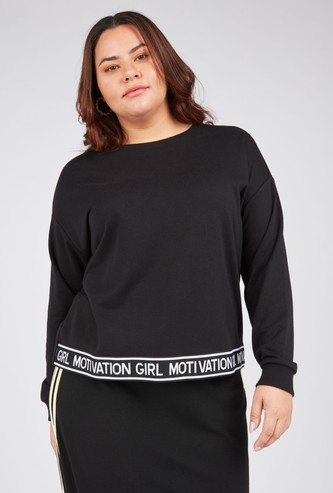 Solid Sweat Top with Long Sleeves and Typographic Print Hem