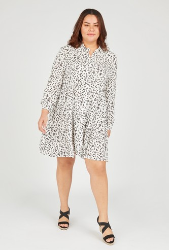 Printed Mini Shirt Dress with Spread Collar and Long Sleeves