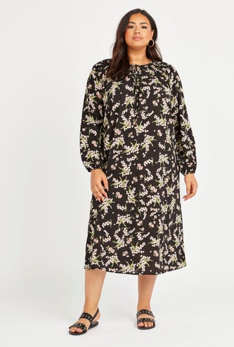 Printed Midi Dress with Long Sleeves and Smocking Detail