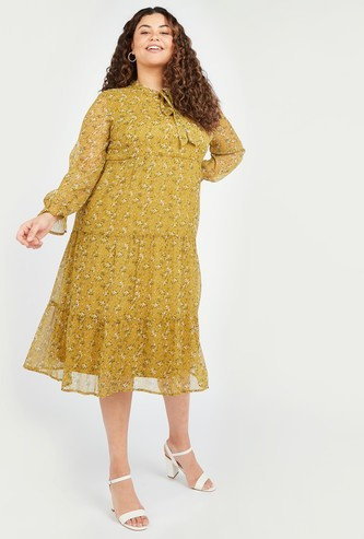 Floral Print Midi A-line Dress with Pussy Bow and Flounce Sleeves