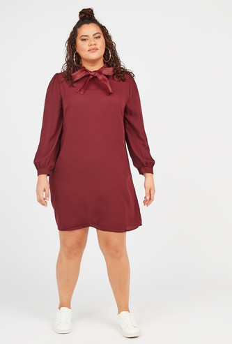 Solid Shift Dress with Pussy Bow and Bishop Sleeves