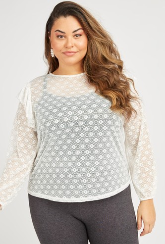 Lace Detail Top with Long Sleeves