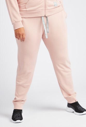 Solid Cuffed Hem Joggers with Drawstring Waist and Pockets