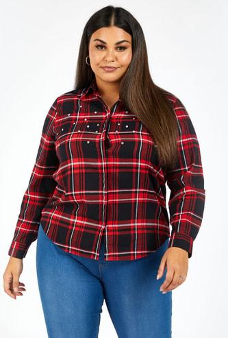قميص كاروهات بأكمام طويلة وياقة عادية وزر إغلاق