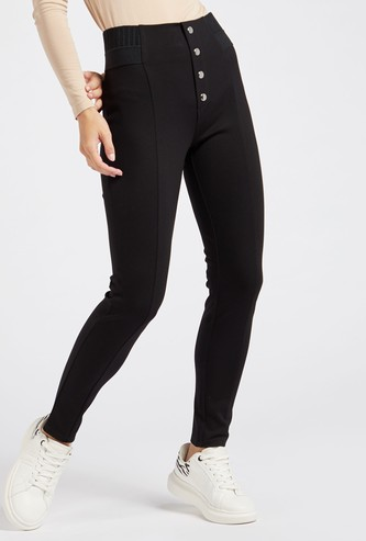 Solid Ponte Treggings with Button Detail and Elasticised Waistband