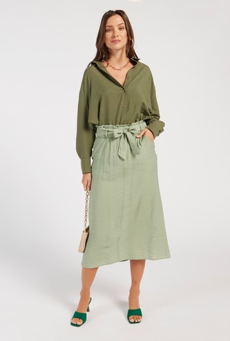 Textured Midi Belted A-line Skirt with Pockets