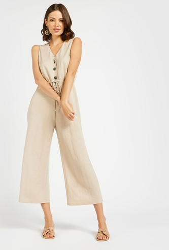 Solid Sleeveless Jumpsuit with Button Detail and Tie-Ups