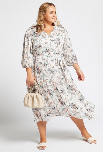All-Over Print A-line Midi Dress with 3/4 Sleeves and Tie-Ups