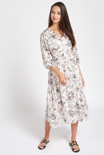 All-Over Print Midi A-line Dress with V-neck and 3/4 Sleeves