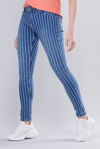 Full Length Striped Jeans with Pocket Detail