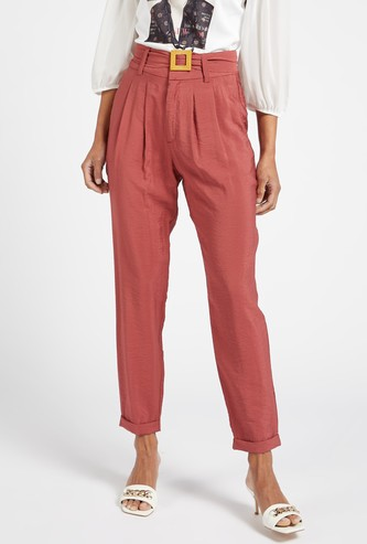 Solid Trousers with Pocket Detail and Belt