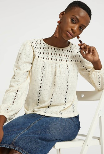 Textured Top with Round Neck and Bishop Sleeves