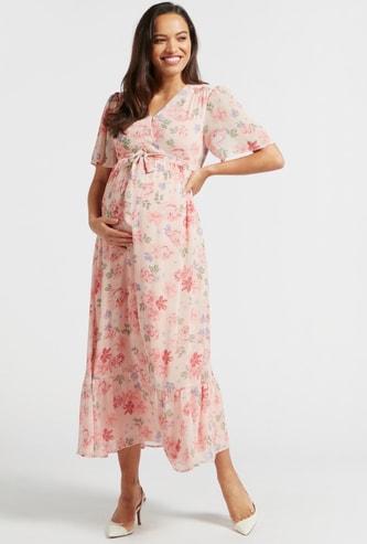 فستان حوامل طويل إيه لاين ملفوف بطبعات زهور وأربطة