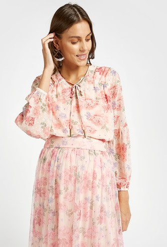 All-Over Floral Print V-neck Top with Neck Tie-Ups