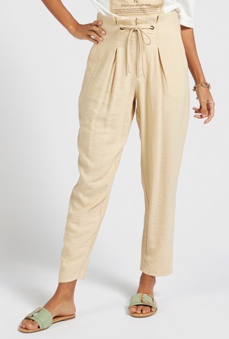 Textured Pleated Peg Pants with Drawstring Waist and Pockets