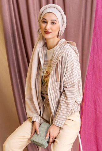 Striped Hooded Jacket with Long Sleeves and Flap Pockets