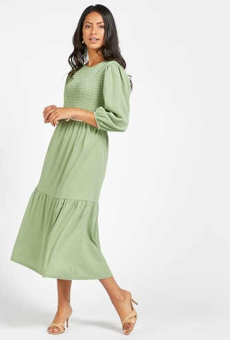 Textured Midi Tiered Dress with Round Neck and 3/4 Sleeves