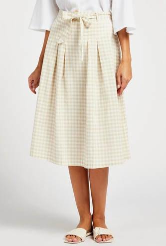 Gingham Check Print Belted A-Line Midi Skirt