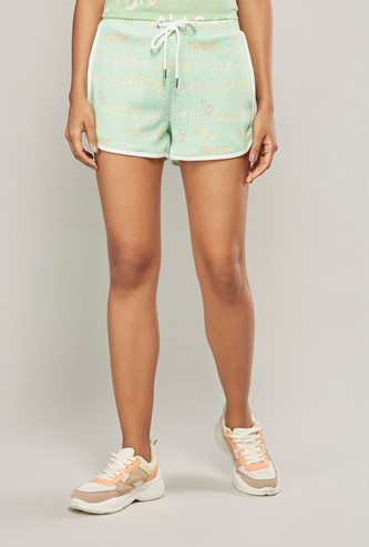 Printed Mid-Rise Shorts with Elasticised Waistband and Drawstring