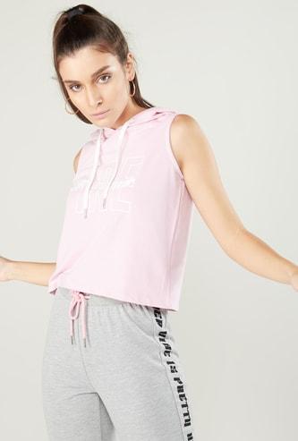 Printed Sleeveless T-shirt with Hood