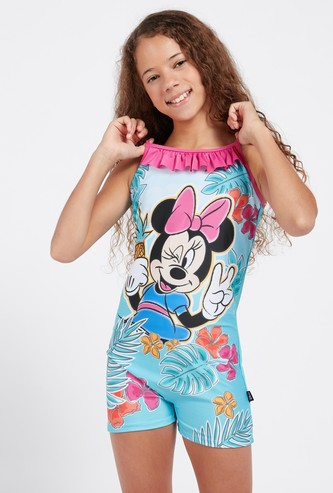Minnie Mouse Print Swimsuit with Adjustable Spaghetti Straps