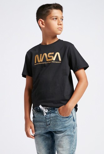 NASA Foil Print T-shirt with Round Neck and Short Sleeves