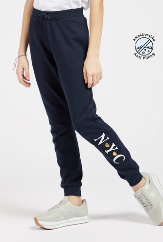 Text Print Jog Pants with Pocket Detail and Elasticised Waistband