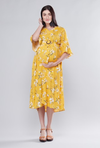 Maternity Printed A-line Midi Dress with Buckle Detail