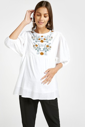 Embroidered Round Neck Maternity Blouse with Three Quarter Sleeves