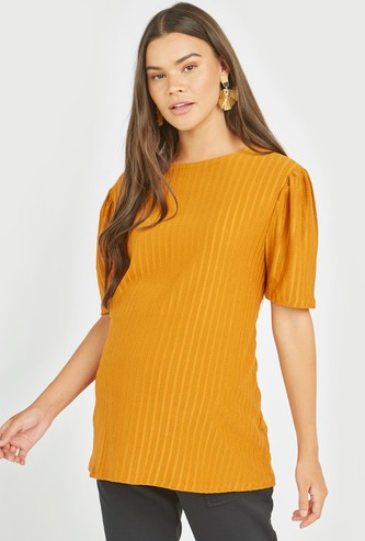 Maternity Textured Top with Round Neck and Short Sleeves
