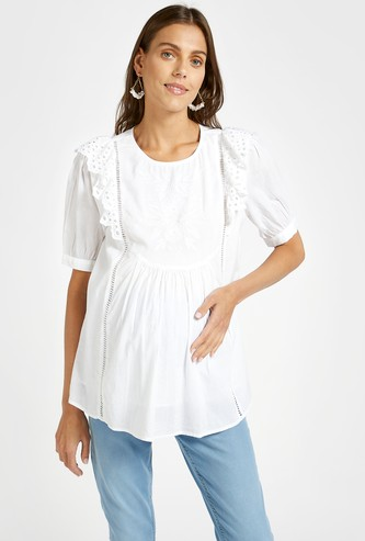 Schiffli Embroidered Round Neck Maternity Top with Short Sleeves