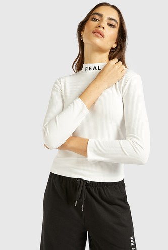 Textured High Neck T-shirt with 3/4 Sleeves