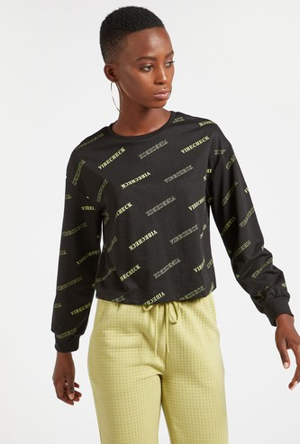 Graphic Print Cropped Sweatshirt with Round Neck and Long Sleeves