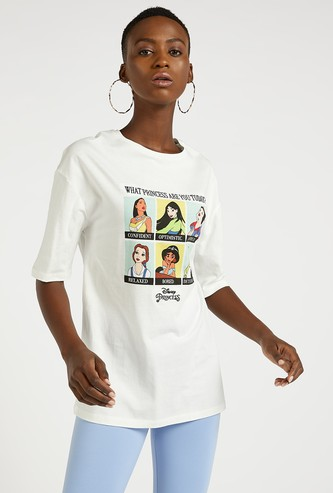 Princess Print Round Neck T-shirt with Short Sleeves