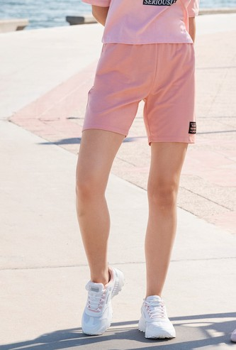 Solid Mid-Rise Bermuda Shorts with Elasticised Waistband