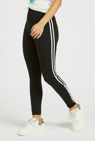 Solid Mid-Rise Treggings with Stripe Detail and Elasticised Waistband