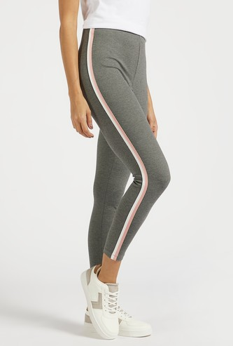 Solid Mid-Rise Leggings with Side Tape Detail
