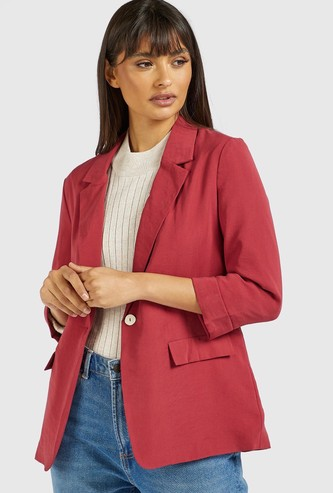 Solid Lapel Collared Blazer with 3/4 Sleeves