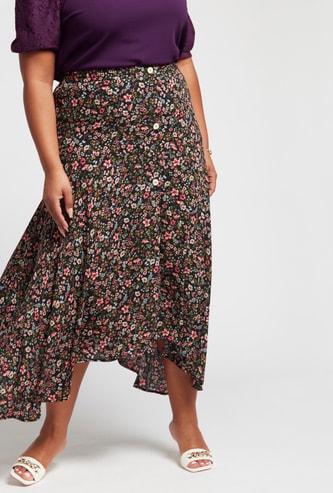تنورة إيه لاين ميدي بطبعات زهرية وطول غير مستوي