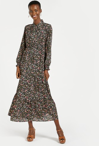 Floral Print Tiered A-line Maxi Dress with Pussy Bow and Long Sleeves