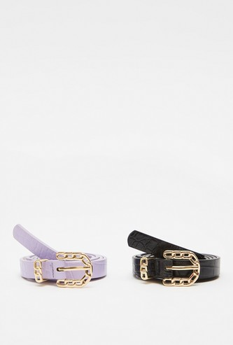 Set of 2 - Skinny Belts with Metal Pin Buckle