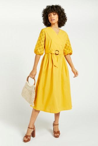 Solid Midi A-line Wrap Dress with Schiffli Detail Sleeves