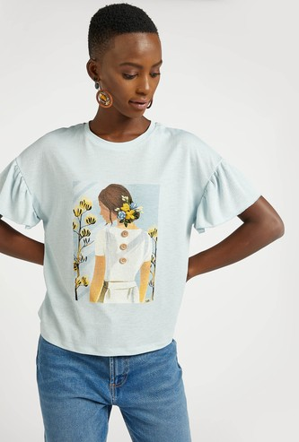 Graphic Print Top with Round Neck and Frill Sleeves