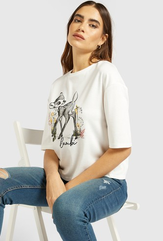 License Bambi Graphic Print Crop Top with Short Sleeves