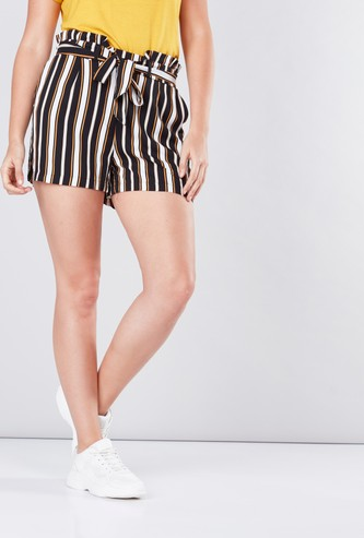 Striped Shorts with Paperbag Waist
