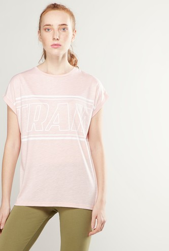 Printed Oversized T-shirt with Round Neck and Extended Sleeves