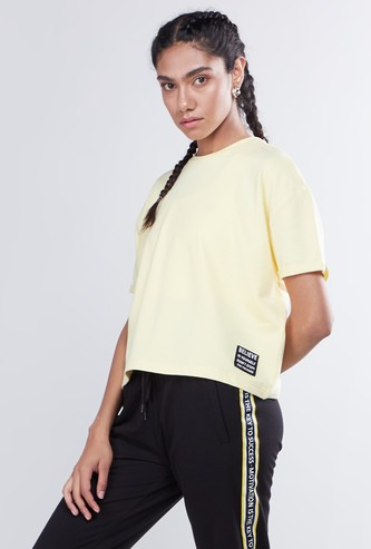 Text Printed Round Neck T-shirt with Drop-Down Short Sleeves