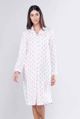 Printed Sleep Shirt Dress with Long Sleeves and Pocket Detail