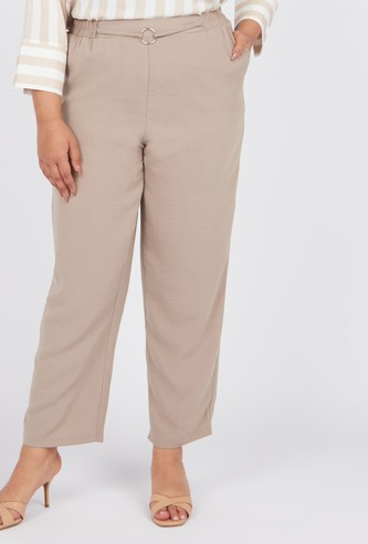 Full Length Solid Mid-Rise Pants with Pocket Detail